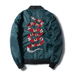 Image 1 - Mannano jaqueta bordada, casaco de beisebol bordado de cobra, para outono 2018, hip hop, streetwear bordado, para casais