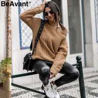 BeAvant Twist knitting halter winter sweater women Casual cold shoulder khaki pullover 2018 streetwear knitted jumper pull femme