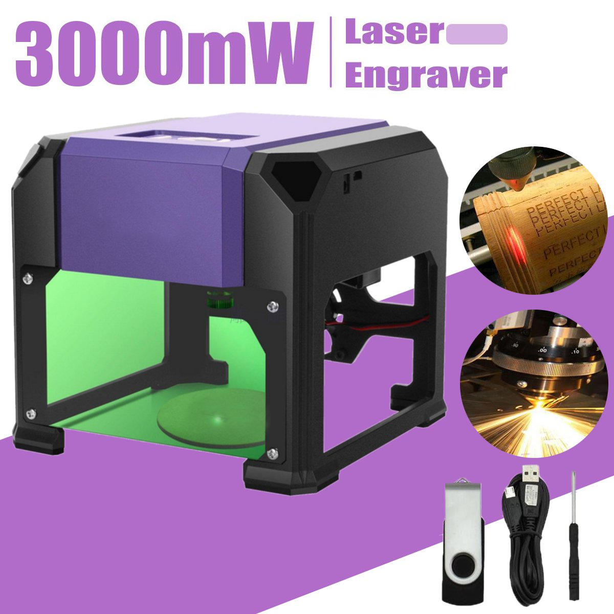 3000 mw USB Gravador de Mesa A Laser Máquina 80x80mm Gama Gravura DIY Logotipo da Marca Da Impressora Cortador A Laser CNC cinzelando a Máquina