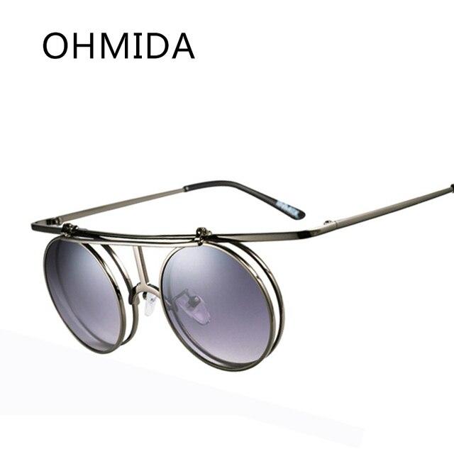 OHMIDA Nouvelle Mode Steampunk lunettes de Soleil Hommes Clip Miroir Hommes  de Lunettes de Soleil Cadre 8863bac24183