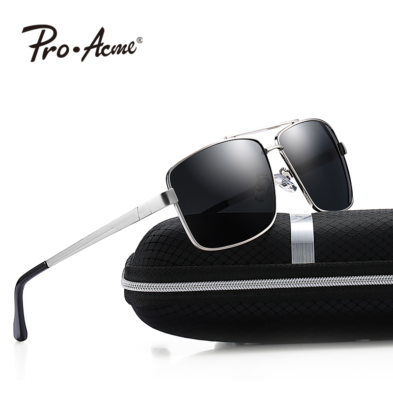 Pro Acme Men HD Polarized Sunglasses Square Metal Frame Sun Glasses Male Driving Travel Eyewear lunette de soleil homme P0525