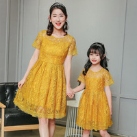 Fashion Mom Daughter Dress Party Fit Summer Dresses To Daughter Mother Matching Clothes Short Sleeve Lace