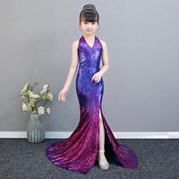 Girls Sequin Mermaid Dress 2019 New Gradient Children's Catwalk Gown Birthdays Party Dress Modis Kids Clothes Vestidos Y1548