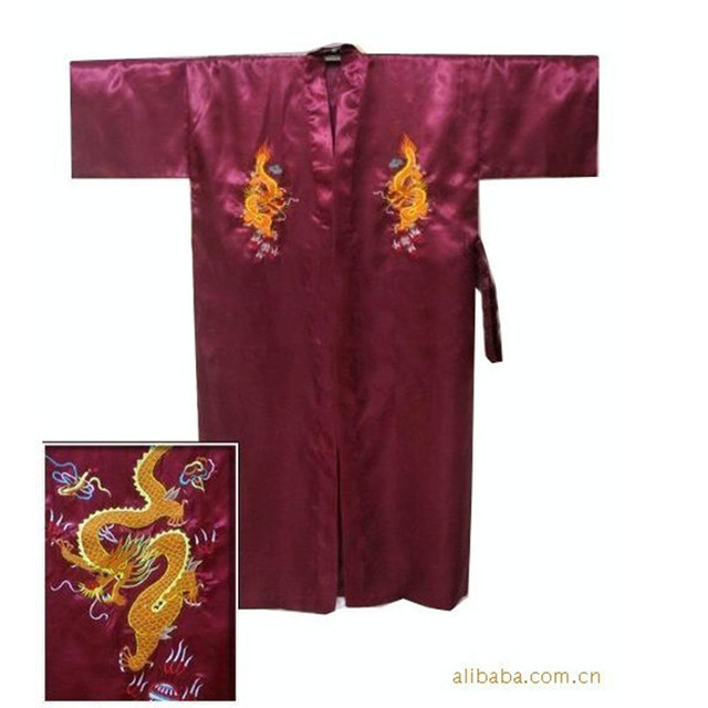 Free Shipping Burgundy Chinese Men's Satin Silk Embroidery Robe Kimono Bath Gown Dragon Size S M L XL XXL XXXL S0103-B