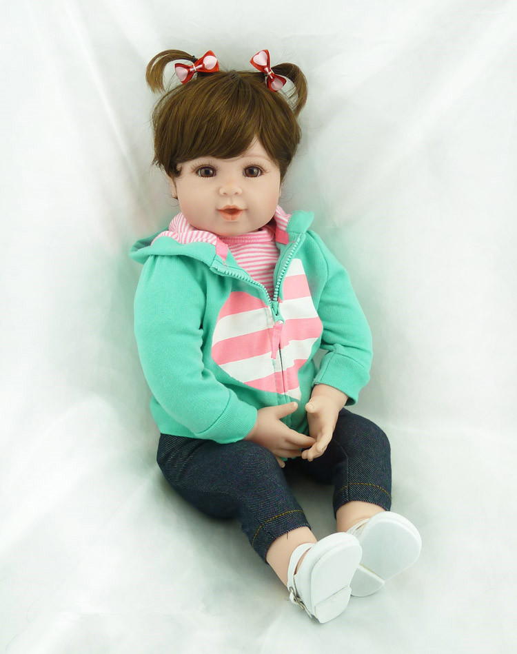 55cm Silicone Reborn Baby Doll Toys Lifelike Vinyl Princess Dolls Lovely American Girls High-end Birthday Gift Collectable Doll 18 high quanlity lovely american princess baby hot girl doll lifelike baby dolls for girls