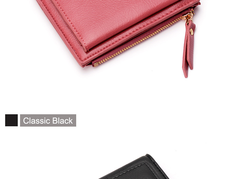 Women Wallet Small Purse Female Wallet Credit card slots zipper coin pocket Leather Wallet lovely pink one size 5