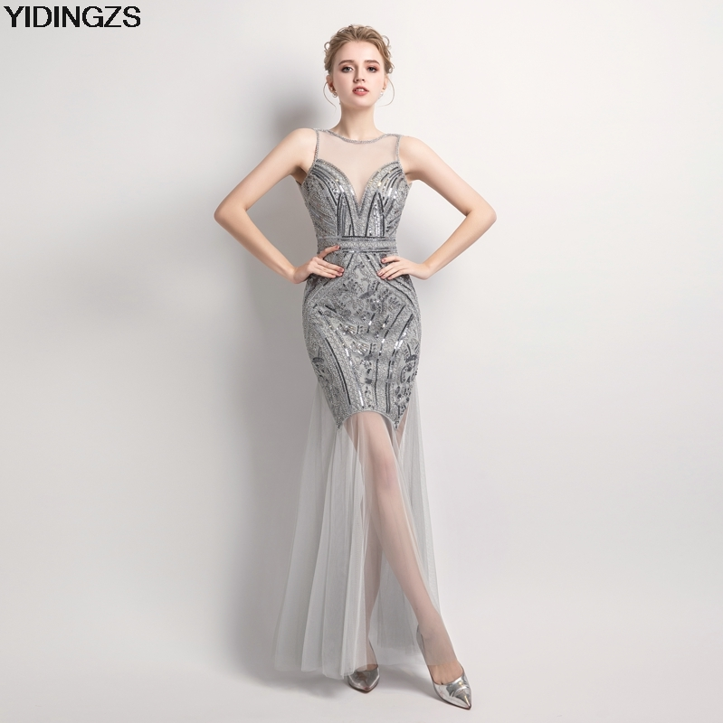 YIDINGZS Sexy Black Sequins Beaded   Bridesmaid     Dresses   Long Formal Party   Dress