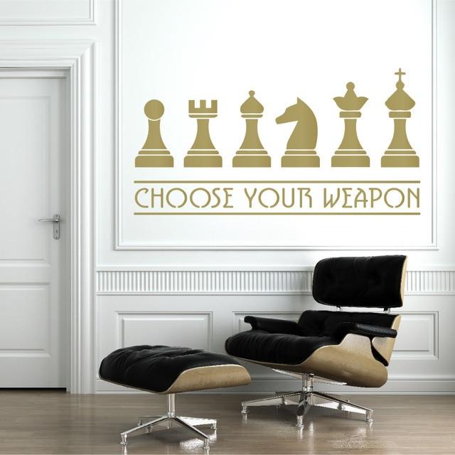 Elegant Schach Waffen Wandtattoo Wohnzimmer Dekoration Eco Freundliche  Vinyl Fr Kreative Wand With Wandtattoo Fr Wohnzimmer