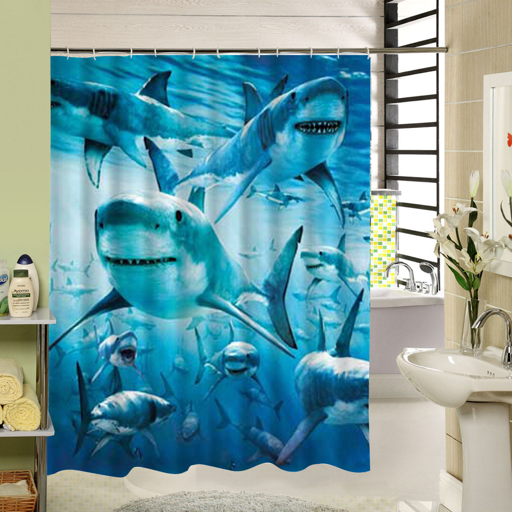 Sharks Shower Curtain Blue Sea Fabric <font><b>Kids</b></font> Bathroom Curtain Animal Pattern 3d Printing