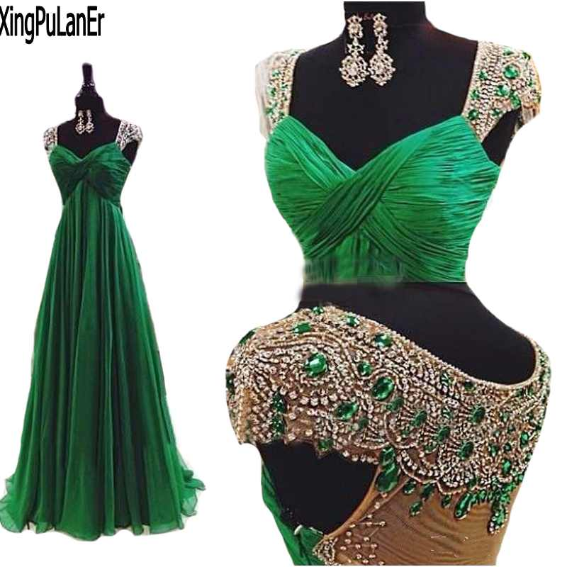 Vestidos 2017 Emerald Green Open Back Chiffon Prom Dresses Women Dresses With Stones And