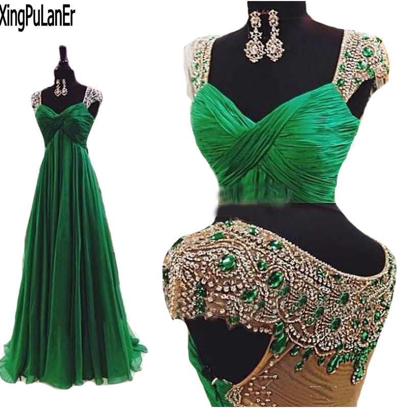 Vestidos 2017 Emerald Green Open Back Chiffon Prom Dresses