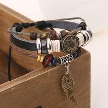 Cool Unisex Charm Bracelet DIY Wristband Punk Retro Rivet Star Skull Wing Teen Wolf Triskele Key Bracelet Bangle Tibetan Jewelry