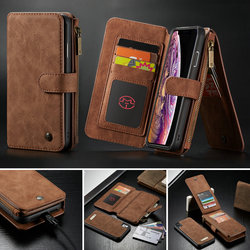 CaseMe Wallet Case For iPhone Xs Max 2 in 1 Magnetic Detachable Leather Case For iPhone Xs /For iPhone Xr Wallet Flip Stand Case