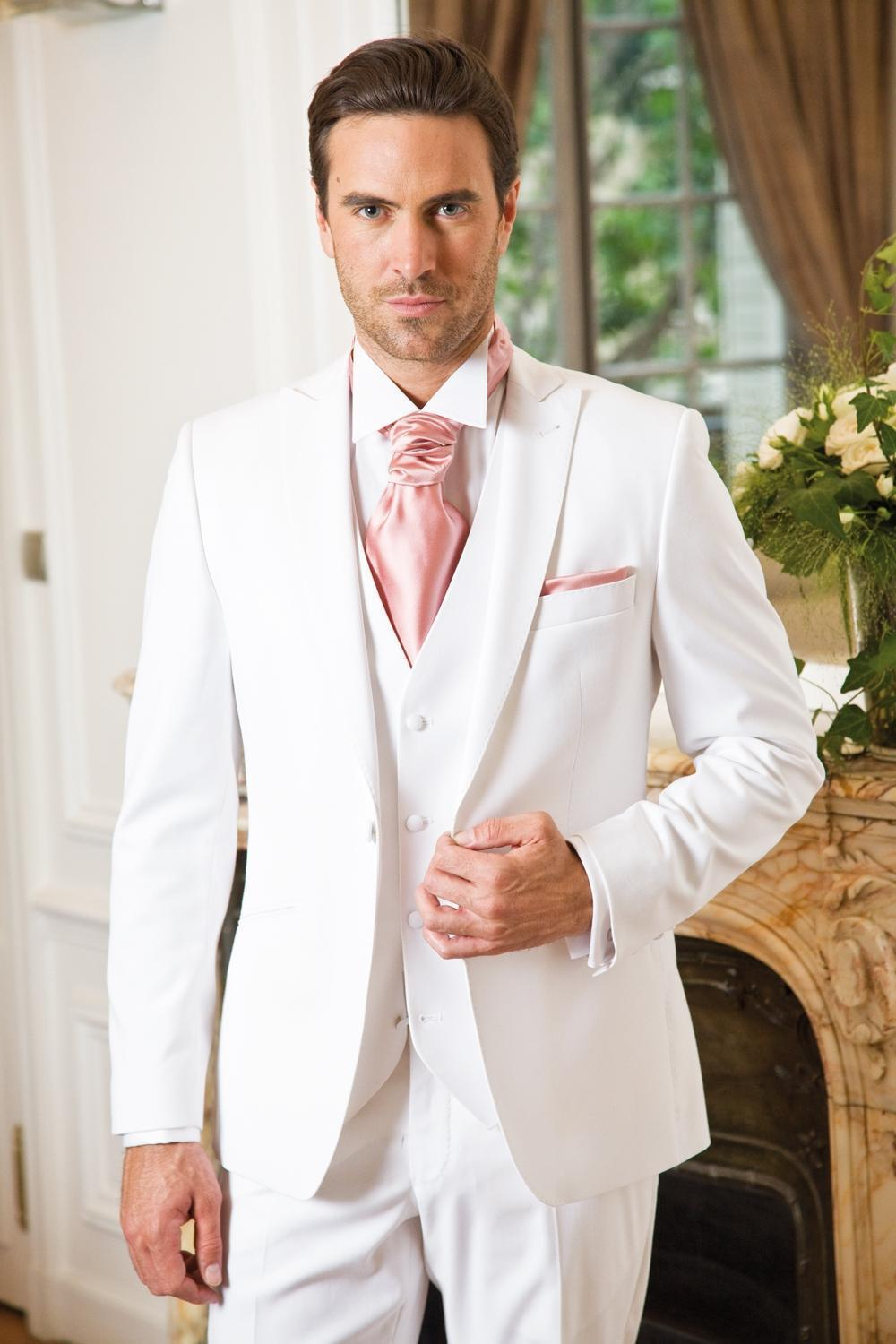 New Arrival White Wedding Prom Suits Mens Suits Peaked