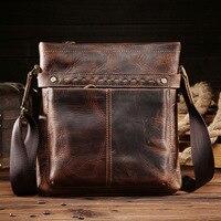 Genuine Leather Shoulder Bag for Men Business Tote Messenger Handbag Large Men's Briefcase Casual Crazy Horse Male Crossbody Bag