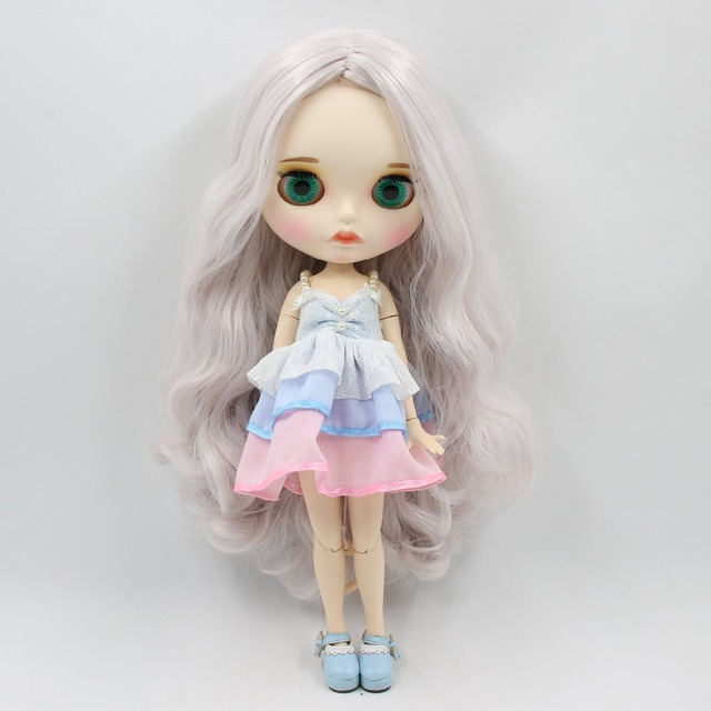 TBL Neo Blythe Doll Grey Pink Hair Jointed Body