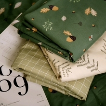 250cm x 50cm Green pine cone full cotton lining DIY Sheet Quilt cover Bedding cloth Decorate manual fabric 320g/m