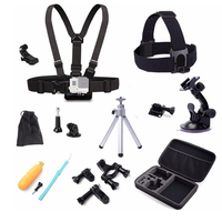 Action Camera Travel Accessories Set Gopro Head Chest Belt Strap Mini Tripod Mount Kit For Gopro