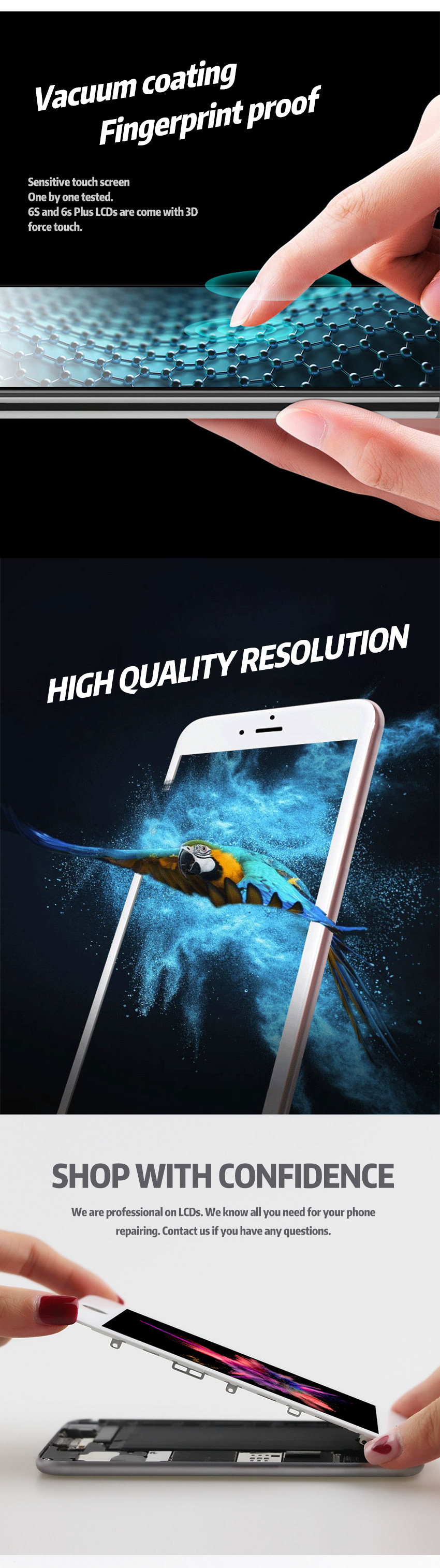 HTB1tznpXN rK1RkHFqDq6yJAFXaR AAA+++ For iPhone 6 6S Plus LCD Full Assembly Complete 100% With 3D Force Touch For iPhone 5S 6Plus Screen Replacement Display