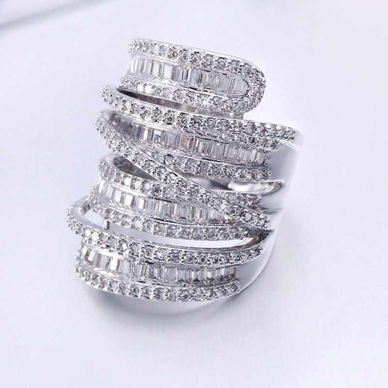 Choucong ผู้หญิงผู้ชายแฟชั่นแหวนเครื่องประดับกว้าง 20ct AAAAA zircon CZ 925 เงินสเตอร์ลิงแหวนหมั้นแหวน