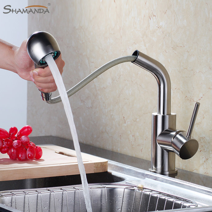 Free Shipping Brass Hot and Cold Water Mixer Pull out Kitchen Faucet 360 Degree Rotation Sink