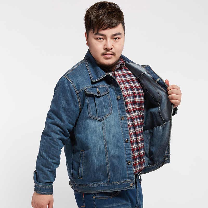 סתיו אביב 2019 בתוספת גודל 7XL 6XL 5XL 4XL-L מקסימום חזה 146CM ג 'ינס ז' אן מעיל גברים צווארון עומד מקרית אופנה