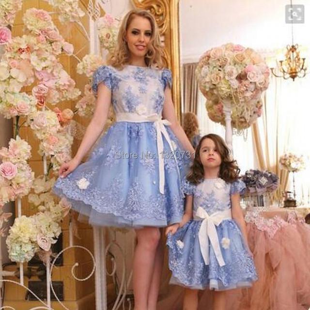 Evening dress curto 2017 vestidos lace applique vestidos de noite formal com manga mãe filha robe de soirée vestido de noite arco