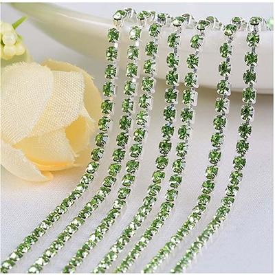 1 ярд/шт, 30 цветов, стеклянные хрустальные стразы на цепочке, Серебряное дно, Пришивные цепочки для рукоделия, украшения сумок для одежды - Цвет: Light green