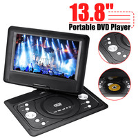 13 8 Mini DVD Player Portable Car TV CD Digital Multimedia Player Swivel USB SD Support