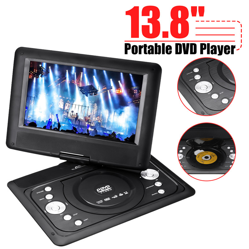 13.8 mini Lettore DVD Portatile TV Auto CD Lettore Multimediale Digitale Ruotare USB di DEVIAZIONE STANDARD di Sostegno di Funzione del Gioco Con Gamepad Auto caricatore