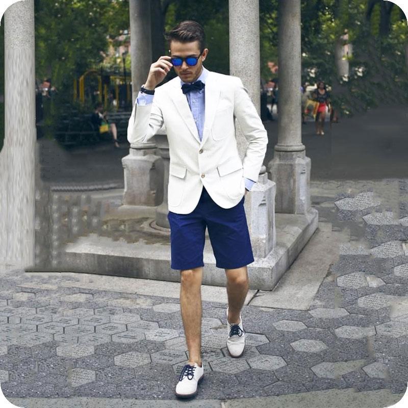 Summer Ivory Men Suits Short Pants Wedding Suits Casual Bridegroom Tuxedos Best Man Blazer Prom Slim Fit 2piece Ternos Masculino