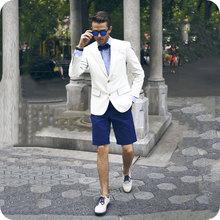 Summer Ivory Men Suits Short Pants Wedding Casual Bridegroom Tuxedos Best Man Blazer Prom Slim Fit 2piece Ternos Masculino