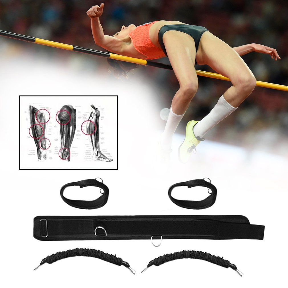 Durable Men Women Bounce Trainer Rope Basketball Tennis Running Leg Strength Training Resistance Band Strap Black HOT