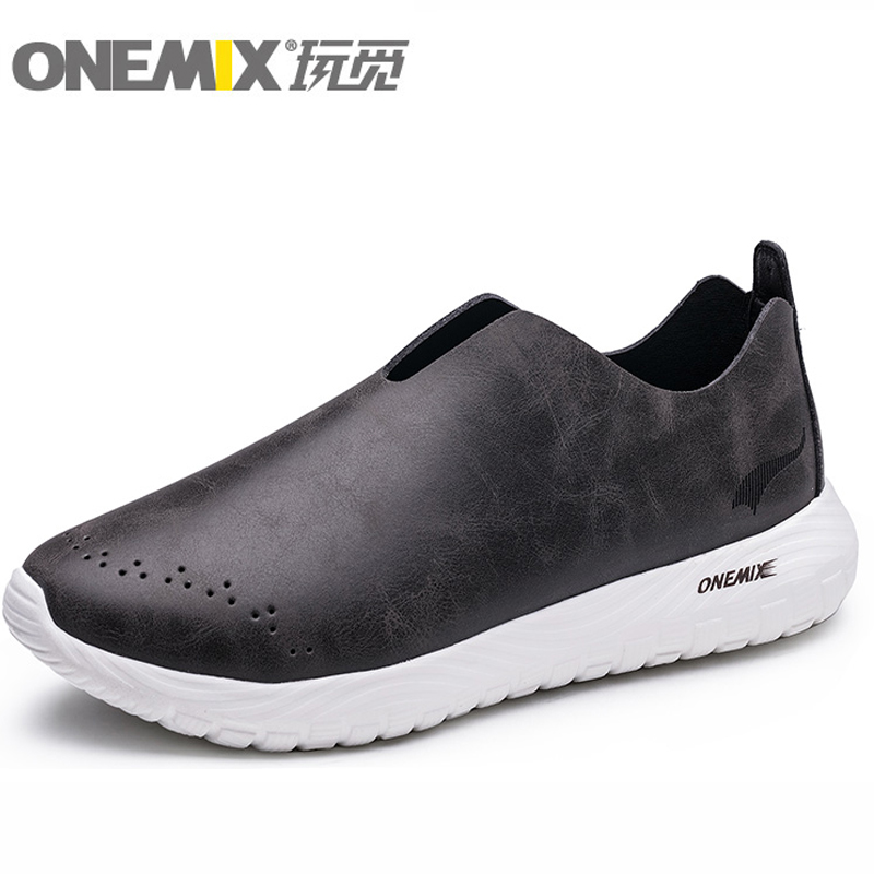 ONEMIX Men Fiber Leather Lightweigt Casual Running Shoes Pigskin Linning Outdoor Sneakers