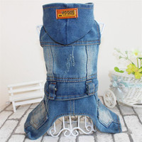 Pet Hooded four-legged jeans pants dog jean clothes Teddy Bichon dog clothing conjoined cowboy Four-legged clothes with cap