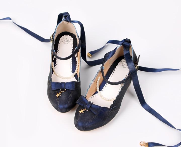Japanese sweet lolita shoes pearl chain bowknot starfish shell princess kawaii shoes round head sandals women shoes loli cosplay