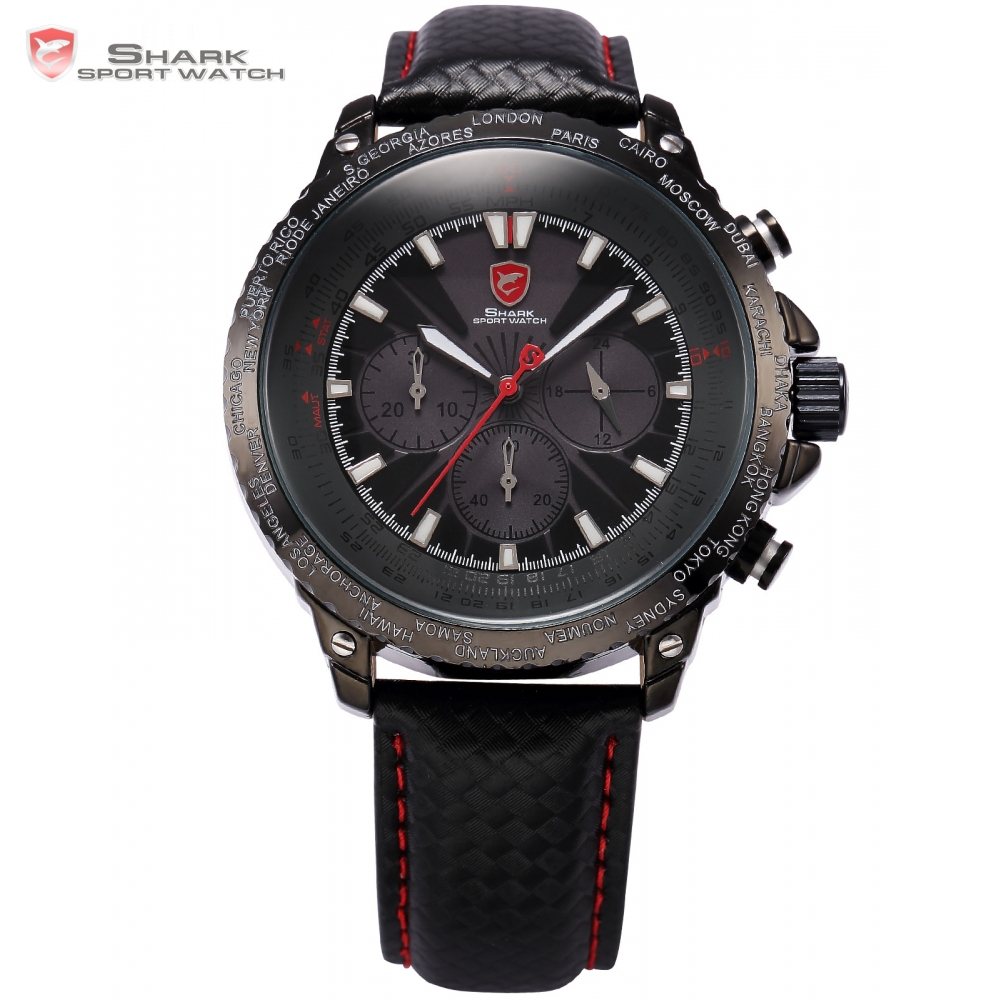 Brand Blacktip Shark Sport Watch Black Military Wristwatches Auto Date Chronograph Leather Band Army Clock Men Montre / SH213 shark army brand new auto date day display leather band relogio analog montre homme men quartz sport military wristwatch saw122
