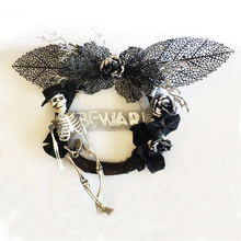 Giant Wreath 23 inch 60cm Halloween Black with Skeleton Wall Door for Decoration