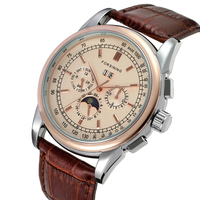 Fashion FORSINING Top Brand Simple Men Watches Casual Auto Mechanical Genuine Leather Strap Watch Rhinestone Moon Phase Display