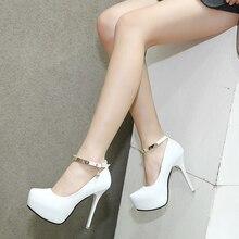 2017 Весна Женщин Туфли На Каблуках Платформы Черный Белый Сексуальная Свадебная Обувь Партия Насосов Одиноких Женщин Обувь