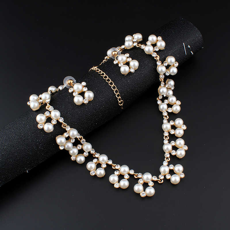 jiayijiaduo Hot fashion imitation pearl jewelry set for women gold-colorBridal Jewelry Set necklace earrings dress accessories