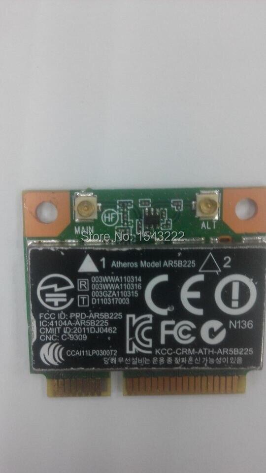 Atheros AR9485 AR5B225 Half Mini PCIe Wireless 300M+BT4.0 Card 654825-001 655795-001 For HP CQ43 CQ58 DV4 DV6 DV7 G4 G6 G7