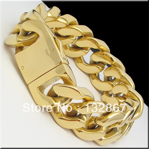 155g Heavy Men S Stainless Steel Cuban Curb Link Gold Bracelet 9 X 20mm In Chain Bracelets From Jewelry Accessories On Aliexpress Alibaba