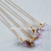 WT-N637top quality  tiny spirit stone necklace exclusive 24k gold trim spirit stone necklace natural necklace women