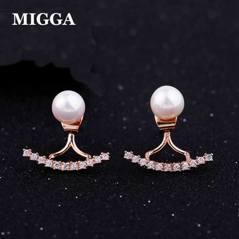 MIGGA Rose Gold Color Double Usages Imitation Pearl Stud Earrings Cubic Zirconia Back CZ Crystal Brincos