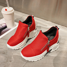 YeddaMavis Platform Sneakers Women Shoes 2019 Spring 9CM Hidden Heels Zipper Womens Zapatos De Mujer
