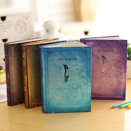 Simple retro vintage vampire diaries schedule note book notebook bronzing journal agenda planner hard copybook vampire diaries the hunters moonsong vol2