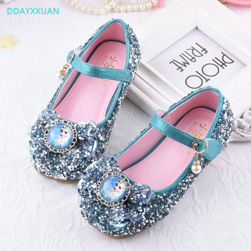 Pink Low Heel Wedding Shoes: Girls Wedding Shoes New Spring Autumn Elsa Design Low Heel