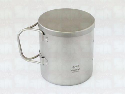 Titane pur 300 ml Double tasse tasse 124g anit-corrosion avec couvercle poignée pliable pour camping ou bureau en plein air