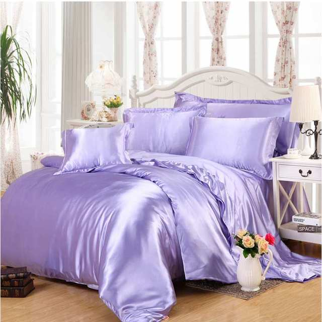 4/6pcs Imitation Silk Bedding Sets Luxury Light Purple Satin Duvet Cover  Queen King Bed